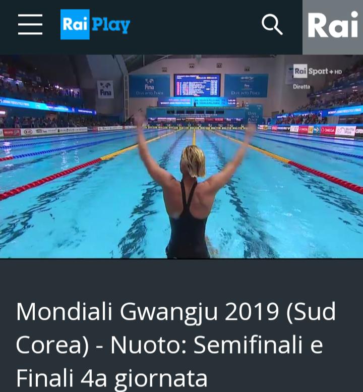 200sl ORO di Federica Pellegrini Mondiali Corea 2019 /screenshot RaiSport